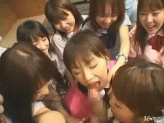 verklig japansk mer, ni flickor, fullständig granne verklig