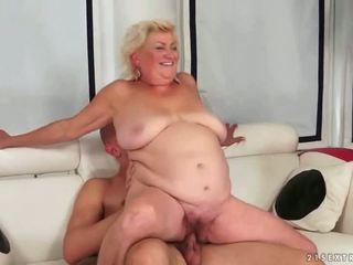 gammel, bestemor, blowjob, fett