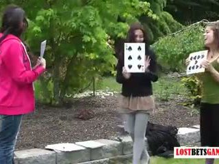 Three girls play strip highest card wins