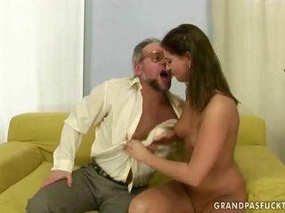 brunette, blowjob, grandpa clip