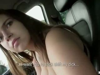 Teen with massive tits fucked on car