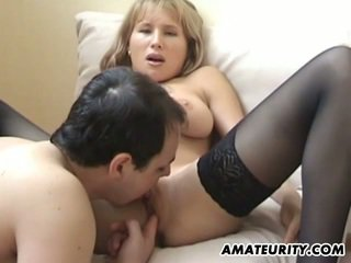 Hot busty amateur girlfriend eaten with creampie