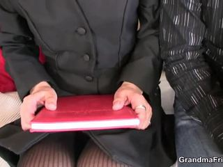 Pair Chaps Share Mature Blonde In The Office