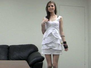 heet brunette, hq schattig video-, meest plezier klem