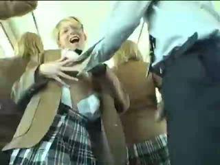 Blonde Schoolgirl Blows Asian Guy On Bus