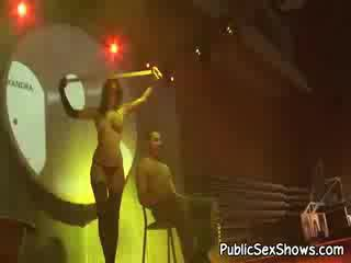 Super sexy dark haired stripper in ebony Panty Hose dancing in a guys lap