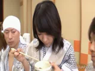 bigtit oriental gets food eaten of her body