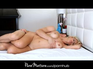 PureMature Blonde housewife rides morning cock