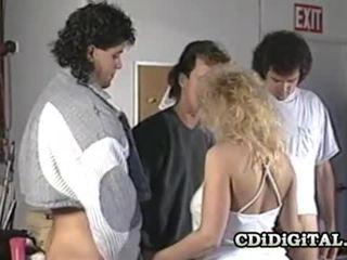 Samantha Strong Blonde Babe Sucking Three Cocks