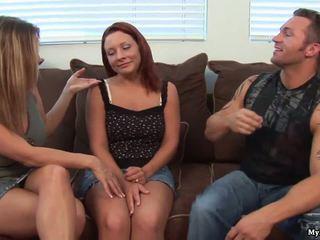 Two hot threesome sluts swing both ways