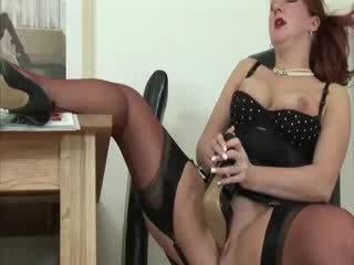 Mature shoe fetish slut masturbates