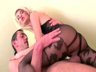 Blonde MILF In Crotchless Bodystocking Really Appreciating An Enthusiastic Dicking From The Younger Stud.