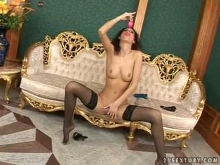 Shaggy head doxy leanna manis enjoys a thick toy bumping in her manis entuk