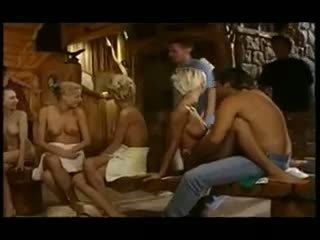 Teens in a Huge Sauna Orgy