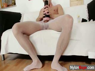 David Masturbates Inside Nylons Till Him Sperms Onto His Nylon
