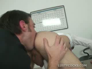 Office dude licks mans asshole on the desk