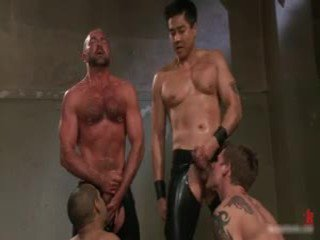 gay, gagged, bound, gangbang