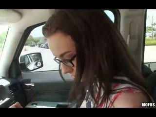Nerd teen Tali Dava sex in the backseat
