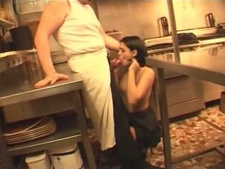francese, cameriera, cucina