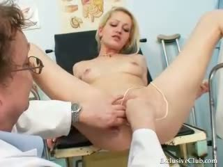 Blond female real gyno check up