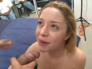 Holly Morgan takes a juicy load of cock milk on her pretty young face