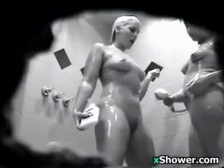 Lesbians Secretly Watched In The Shower
