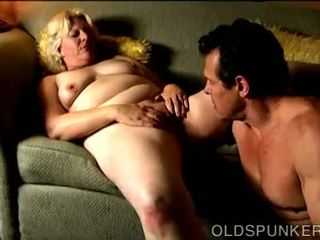 Chunky mature blonde is a super hot fuck and loves facials