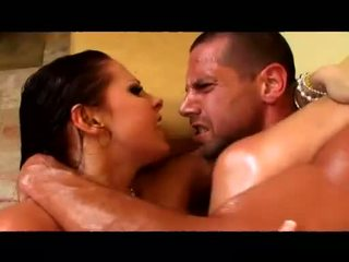 Busty Gianna Michaels gets rammed by a hard rod before getting tit sprayed