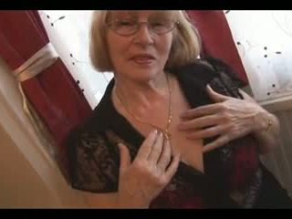 Hairy greanny in nylons stripping