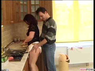 brunettes, mature, wife, kitchen