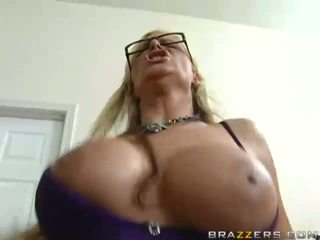 Lovely busty blonde slut sucking huge cock and having fun