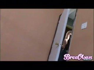 Busty blonde Bree Olson blows a hardrock meatstick