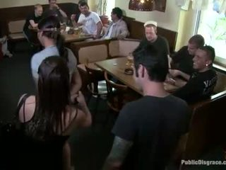 Bitch is humiliated sexually in public