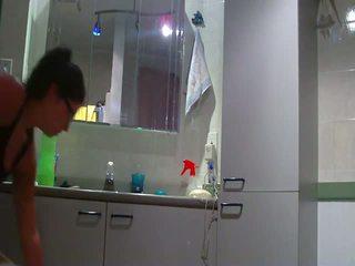 plezier badkamer actie, nieuw eigengemaakt klem, amateur porn archief film