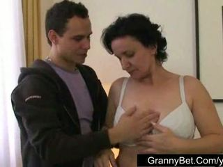 Granny tits and hairy pussy
