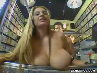 April McKenzie pumping her twat on a hard meat cock
