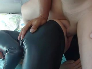 Blonde Slut in Black Latex Spandex Catsuit Fucked: Porn 8a