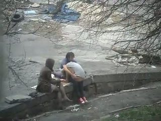 Man fuck the girl and her friend on the stree