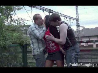 Public sex public threesome at a train station