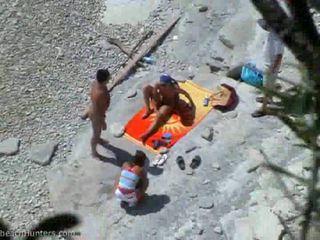 groepsseks, zien strand, heet tiener