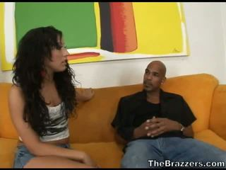 Slutty brunette hoe rammed by big black dick
