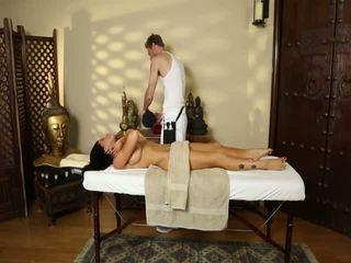 Fluent massage actions from voyeur camera