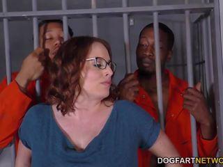 Krūtainas maggie green has starprašu trijatā uz ieslodzītas.