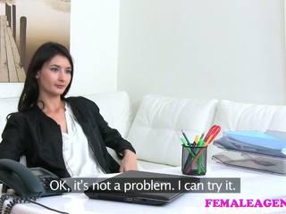 FemaleAgent Agent fucks hot masturbating model with big dildo