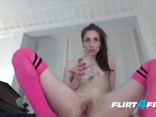 kwaliteit brunette, vers speelgoed, webcam