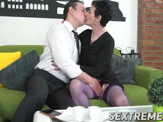 Lucky Horny Granny Pixie Drilled on Sofa by Robs Hard