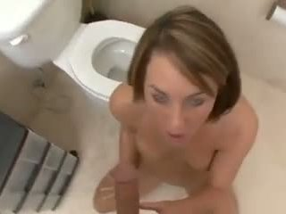 Cute Girl Bathroom Bj with CIM Showing and Swallowing