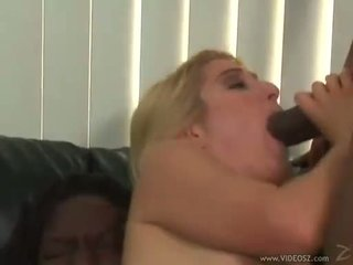 Hot blond Heather Gables sucks on a huge dick whilst getting shagged hard