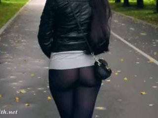 Jeny smith alto tacões negra collants público andar