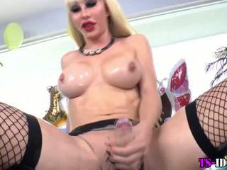 Blonde shemale stroking